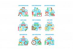 Car Repair Service Set Icons Vector Illustrations Product Image 1