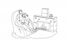 Winter Rest Couple Together Near Fireplace Vector Product Image 1