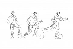 Football Player Playing And Kicking Ball Vector Product Image 1