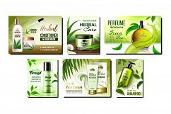 Herbal Cosmetic Promotional Posters Set Vector Product Image 1