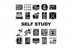 Self Study Lessons Collection Icons Set Vector Product Image 1