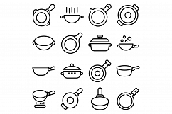 Wok frying pan icons set, outline style Product Image 1
