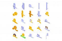 Door handles icons set, isometric style Product Image 1