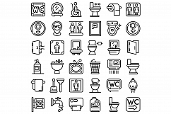 Wc icons set, outline style Product Image 1