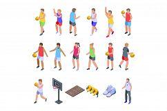 Kids playing basketball icons set, isometric style Product Image 1