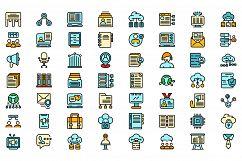 Customer database icons set vector flat Product Image 1