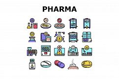 Pharmaceutical Production Factory Icons Set Vector Product Image 1
