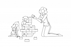 Woman Babysitting And Playing With Children Vector Product Image 1