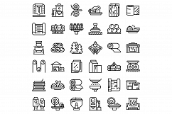 Paper production icons set, outline style Product Image 1