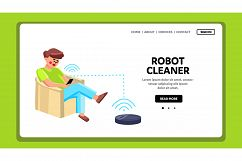 Robot Cleaner Man Control With Phone App Vector Product Image 1