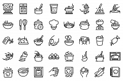 Hands preparing foods icons set, outline style Product Image 1