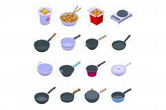Wok frying pan icons set, isometric style Product Image 1