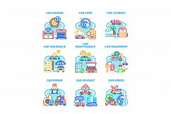 Car Repair Garage Set Icons Vector Illustrations Product Image 1