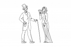 1900 Victorian People Lady And Gentleman Vector Illustration Product Image 1