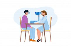 Eye Checking Patient In Doctor Cabinet Vector Product Image 1