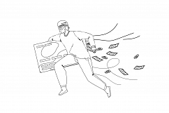 Thief Man Stealing Money From Credit Card Vector Product Image 1
