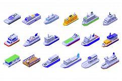 Ferry icons set, isometric style Product Image 1