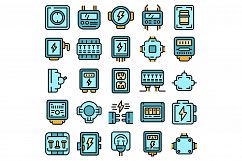 Junction box icons set vector flat Product Image 1