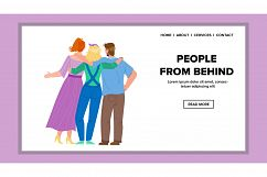 People From Behind Embracing Togetherness Vector Product Image 1