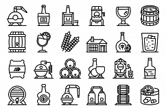 Bourbon icons set, outline style Product Image 1