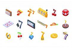Lucky 7 icons set, isometric style Product Image 1