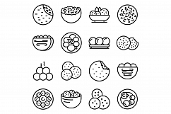 Falafel icons set, outline style Product Image 1