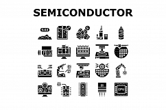 Semiconductor Manufacturing Plant Icons Set Vector Product Image 1