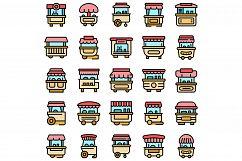 Hot dog cart icons set vector flat Product Image 1