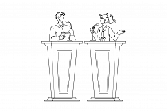 Speaker Discussing With Opponent At Tribune Vector Product Image 1
