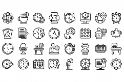 Flexible working hours icons set, outline style Product Image 1