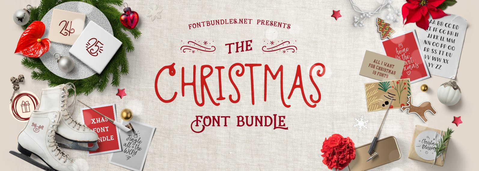 The Christmas Font Bundle Cover