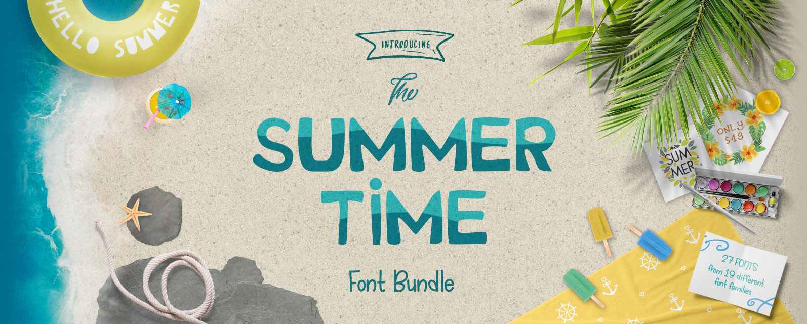 The Summer Time Font Bundle Cover