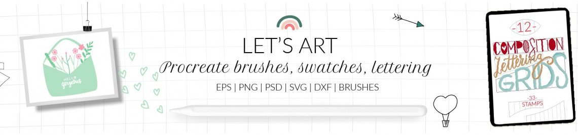 LettersClipArt Procreate brushes Profile Banner