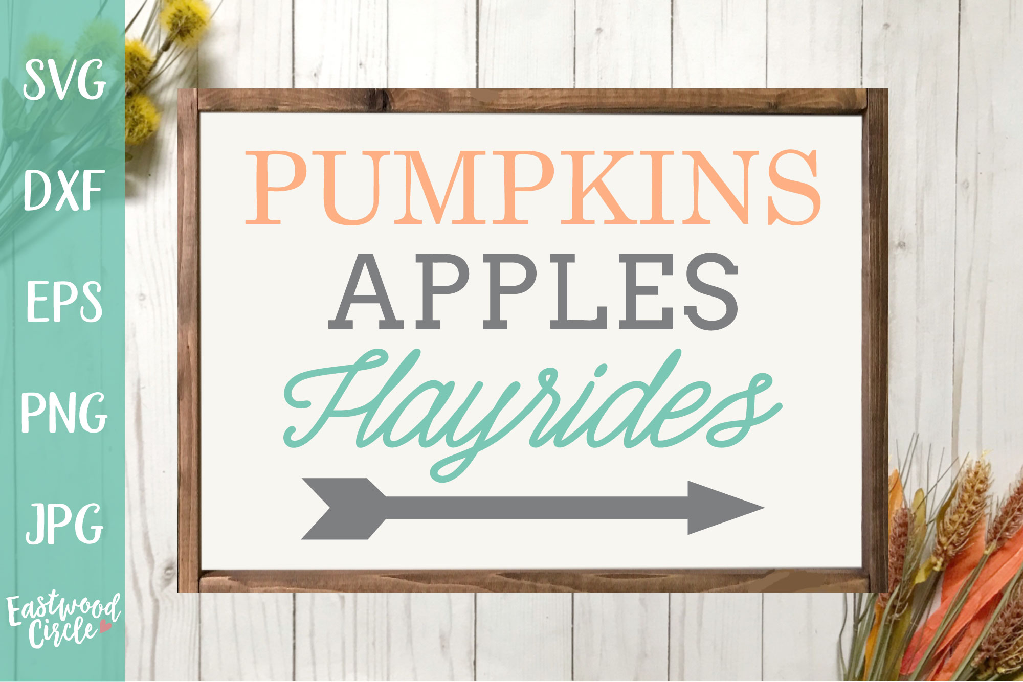 Pumpkins Apples Hayrides - Fall SVG File for Signs example image 1