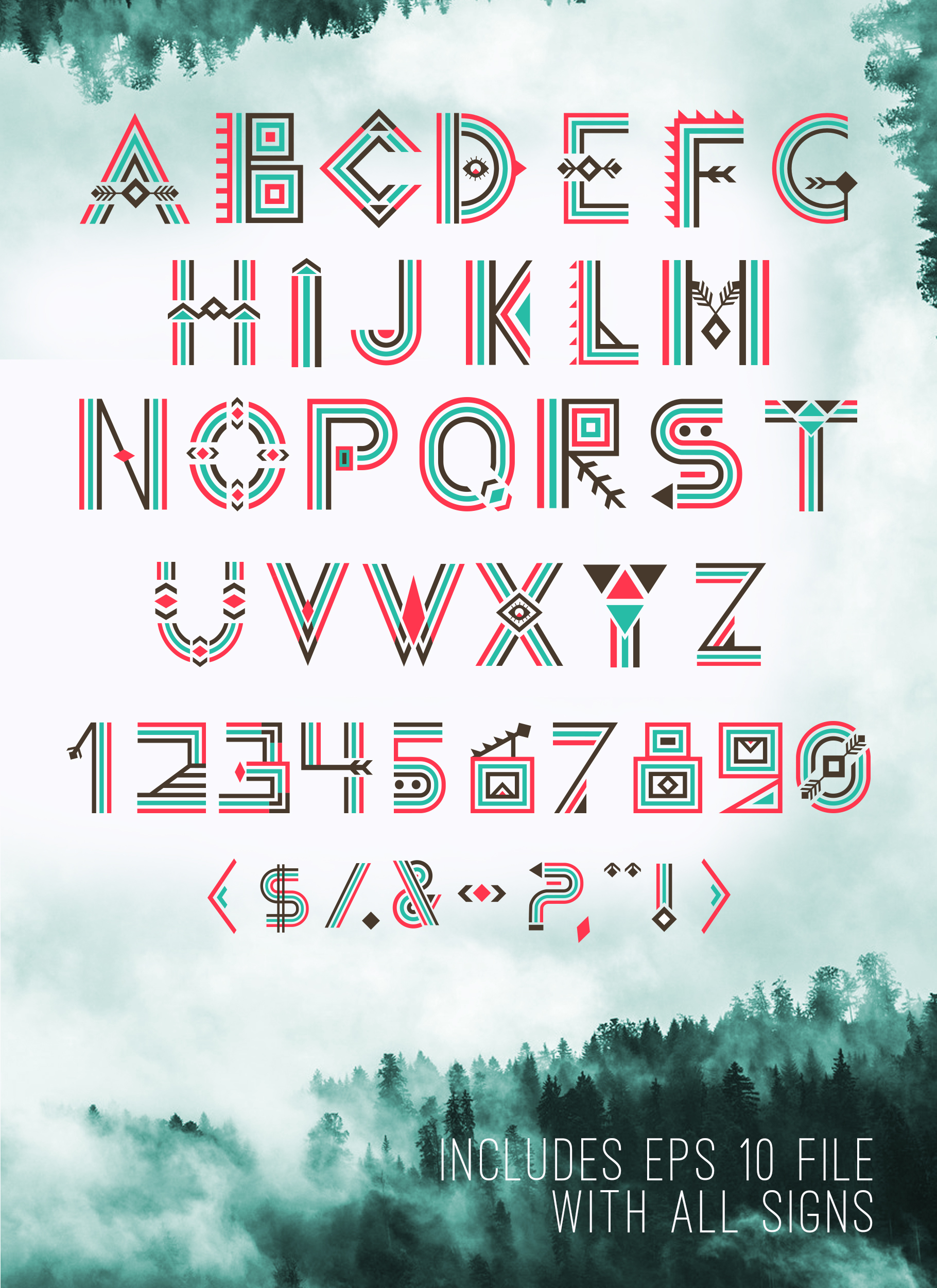 Tribal Aleut OTF color font.  example image 5