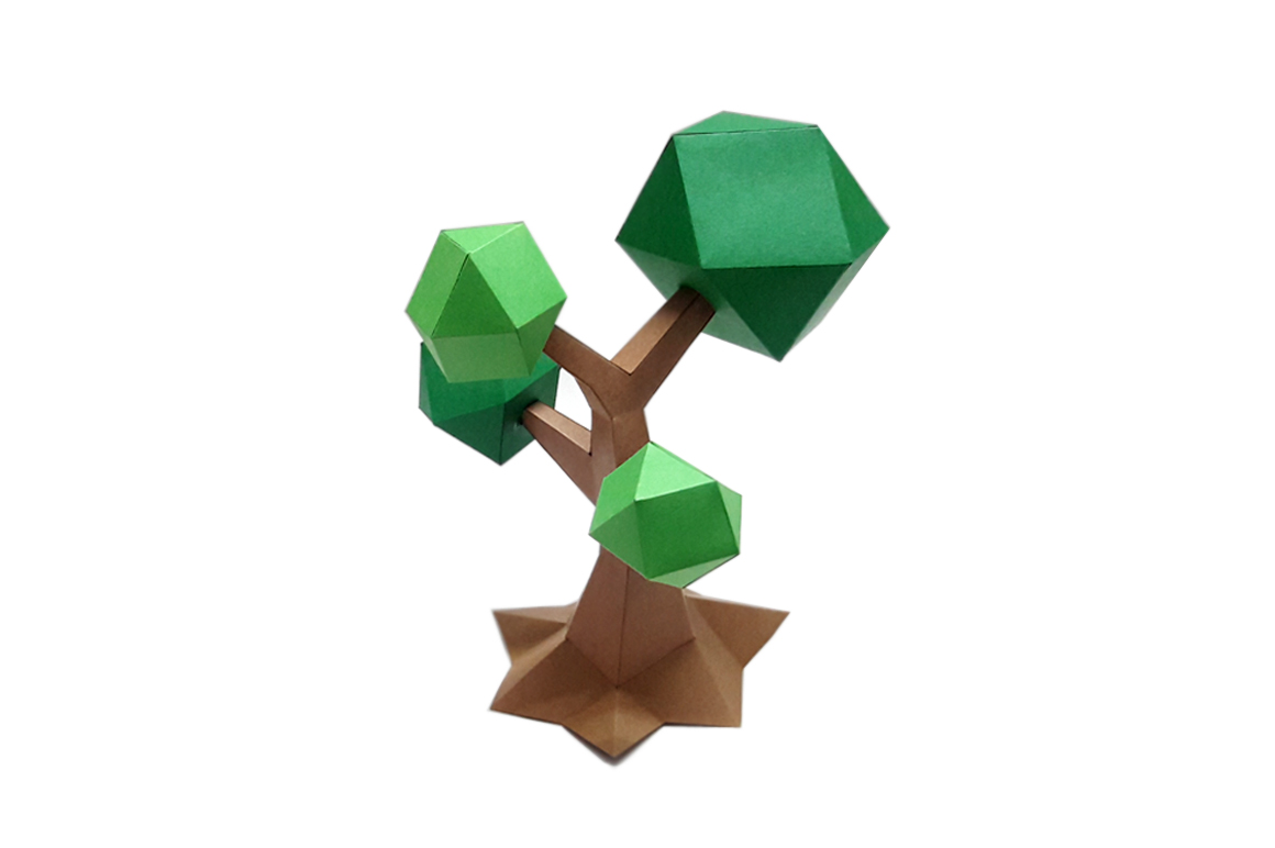 DIY Lowpoly Tree - 3d papercraft example image 3