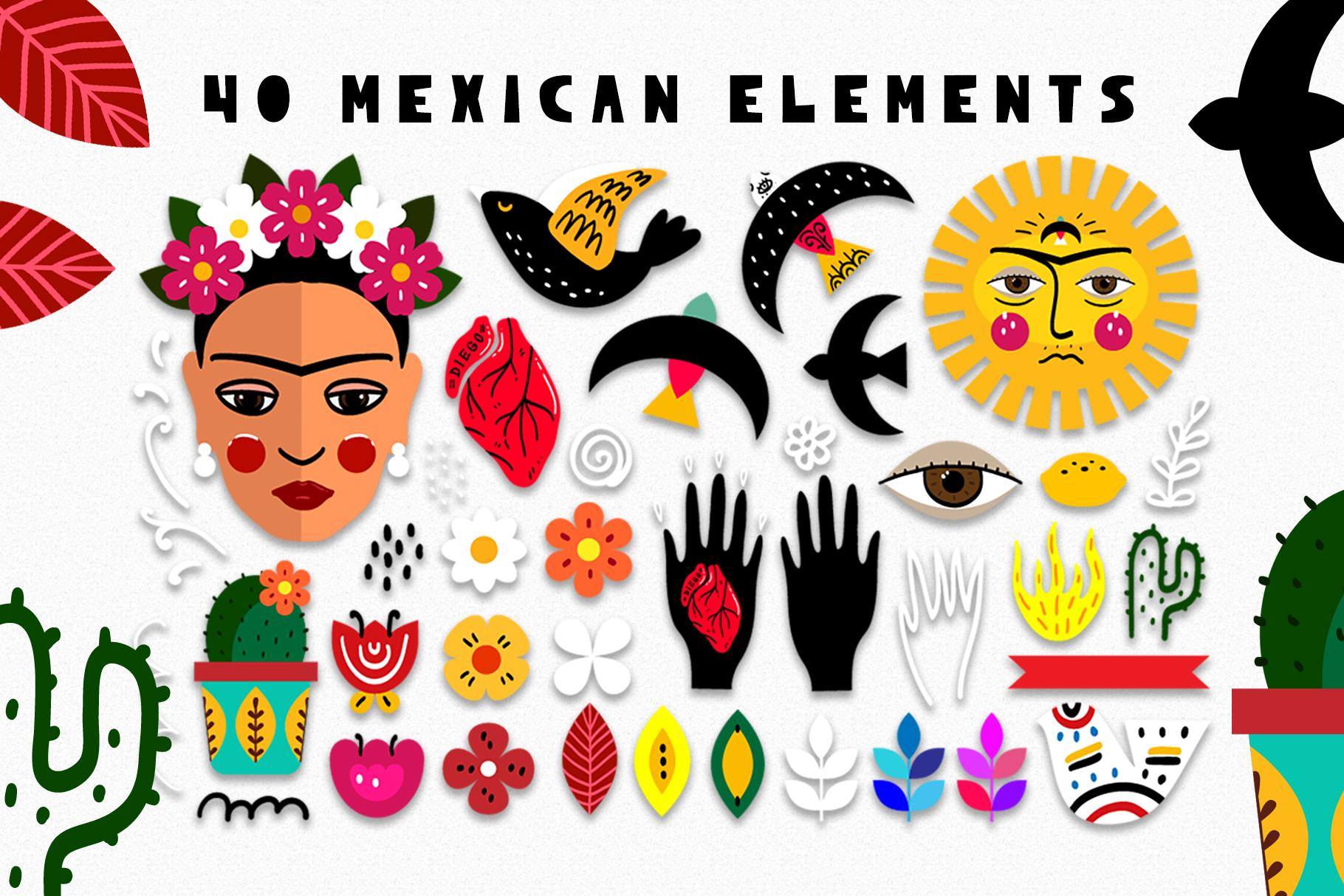 Love Frida - Mexican folk kit example image 2