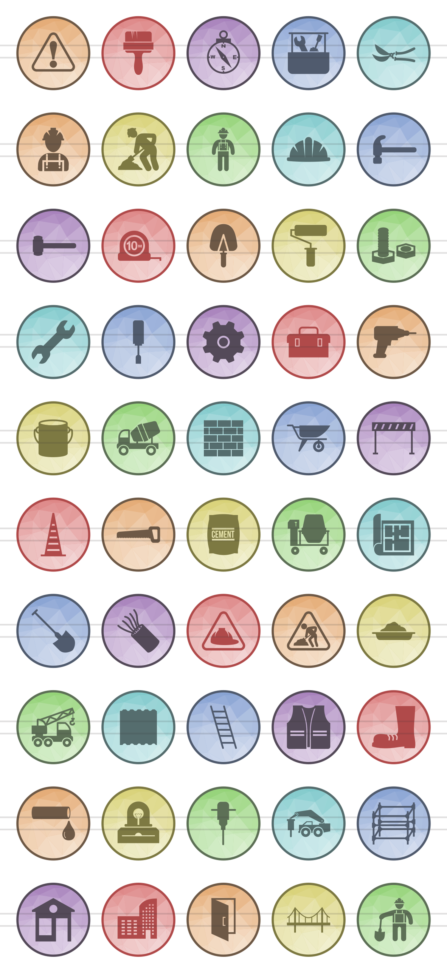 50 Construction Filled Low Poly Icons example image 2