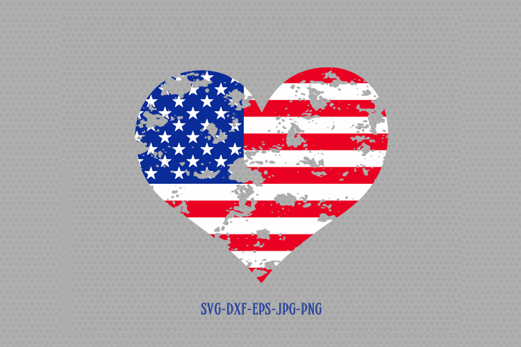 9723114c2c9 Usa flag heart shape distressed svg
