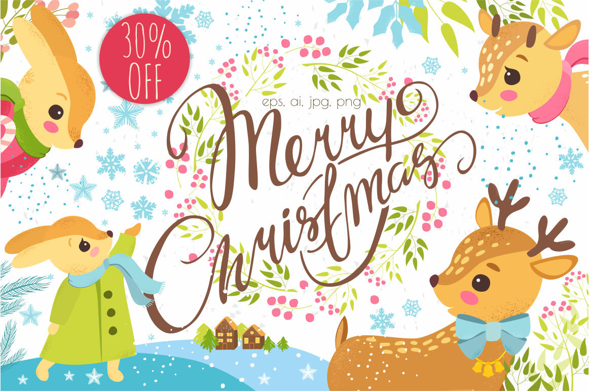30% OFF. Merry Christmas set. example image 1