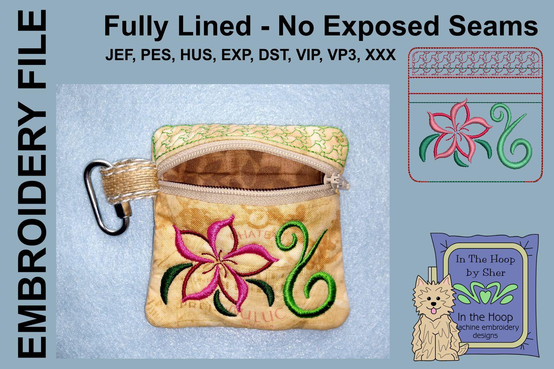 Swirly Flower Zipper Bag / Fully Lined, 4X4 HOOP example image 2