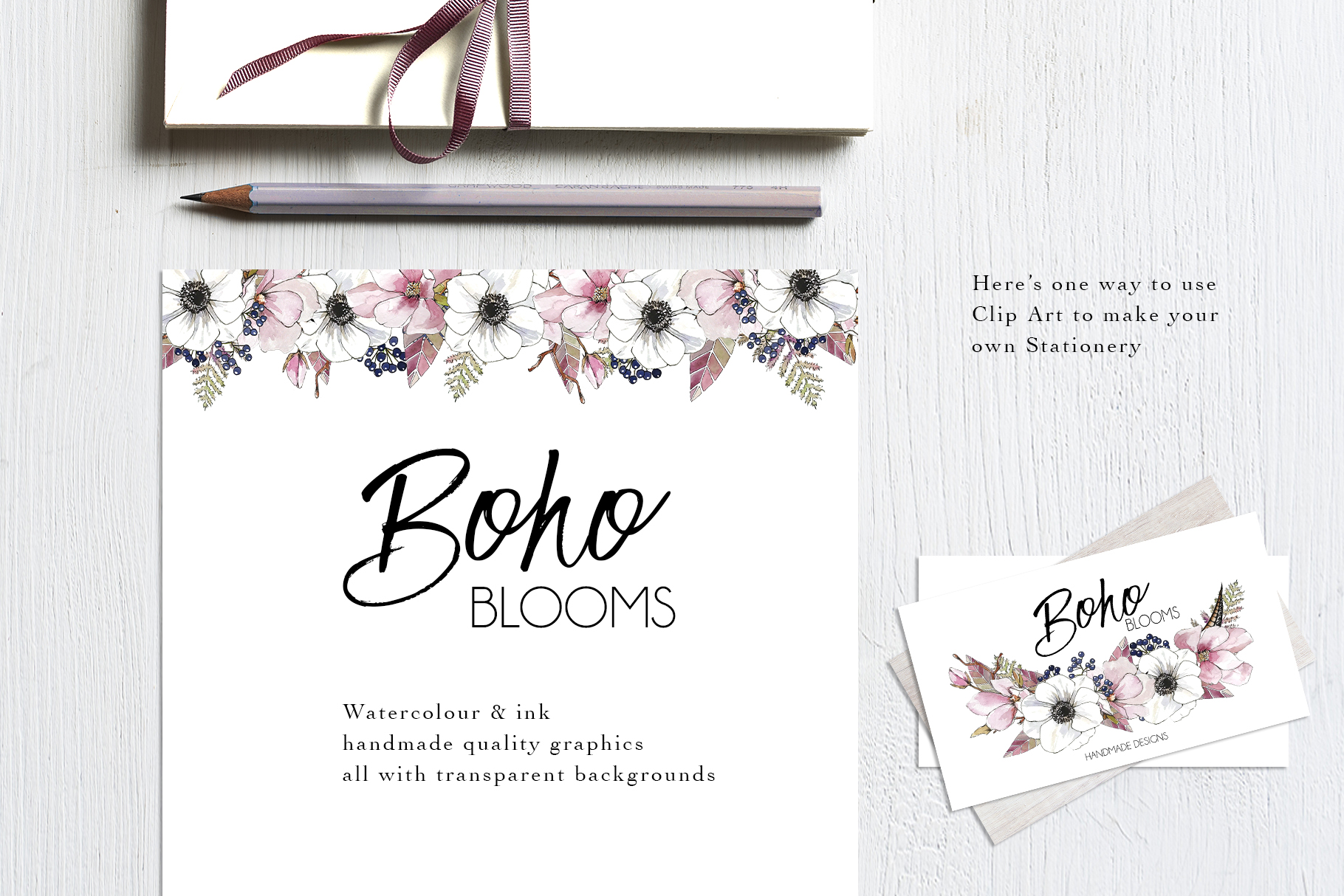 Watercolor & Ink ClipArt Boho Blooms example image 4