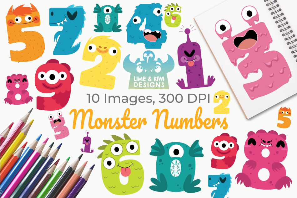 Monster Numbers Clipart, Instant Download Vector Art example image 1