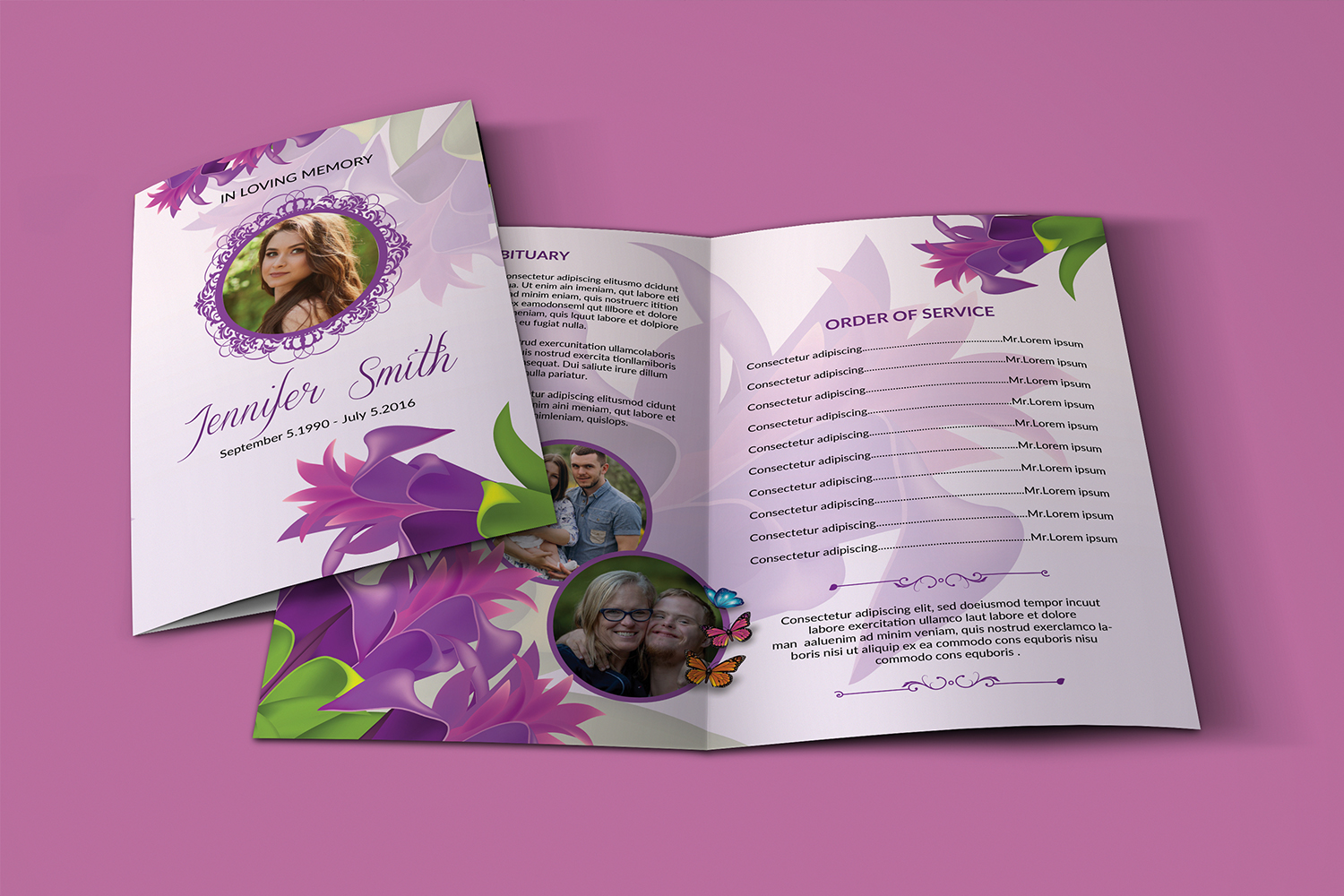 Floral Funeral Program Template example image 3
