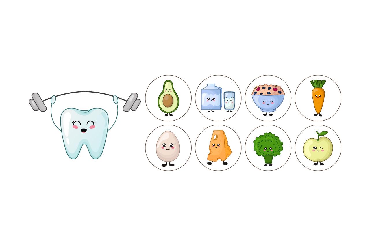 Cartoon kawaii teeth healthy habits example image 2