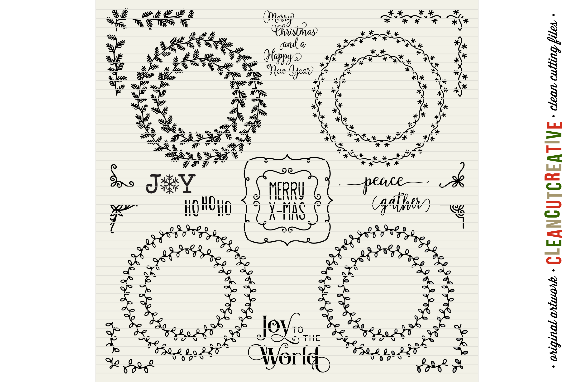 The Crafters Christmas Toolkit - 150+ Christmas Design Elements - SVG DXF EPS - Cricut & Silhouette - clean cutting files example image 9