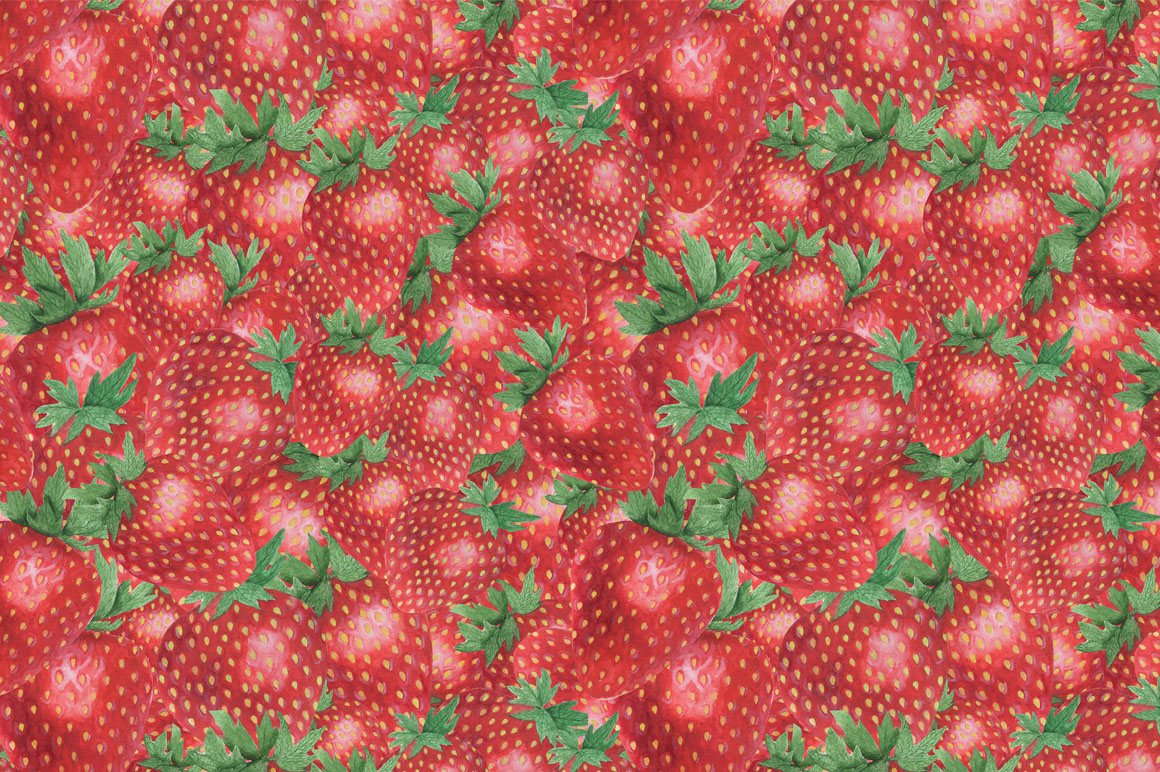 Set Strawberry Watercolor example image 4
