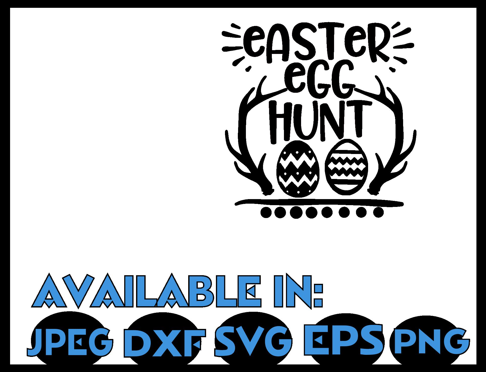 Happy Easter SVG DXF JPEG Silhouette Cameo Cricut Egg hunt example image 3