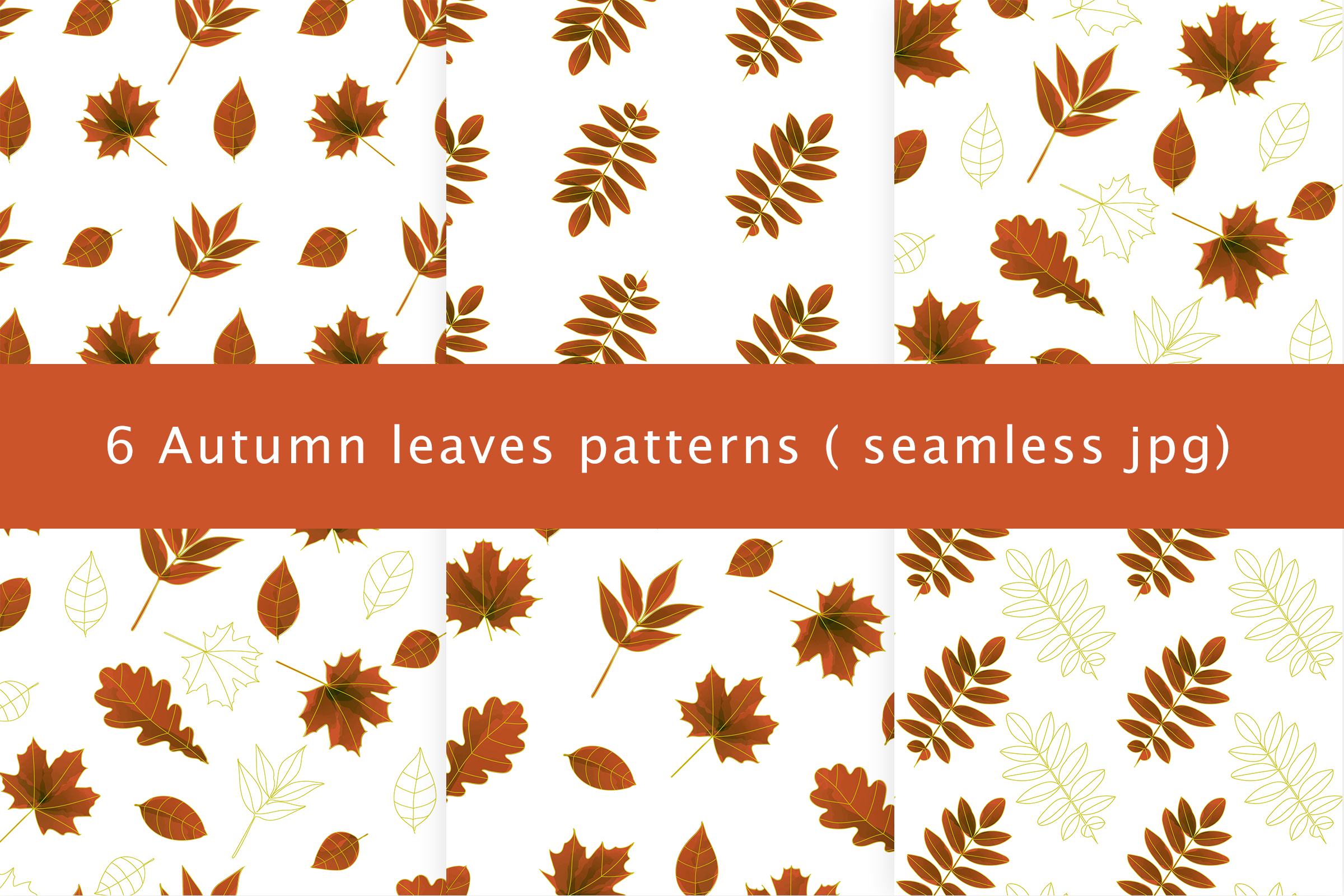 Autumn watercolor leaves pattern, seamless. example image 1
