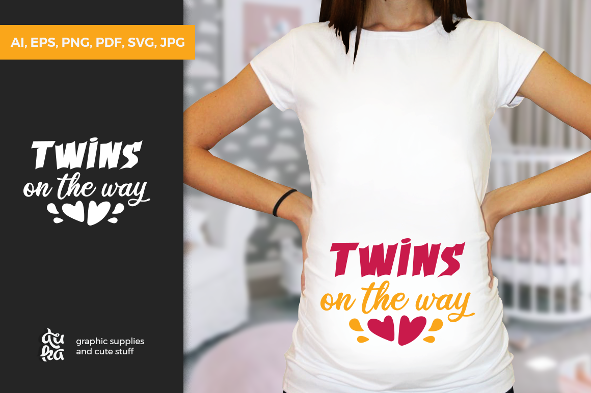 Pregnancy Announcement SVG Cut Files - Twins on the way example image 1
